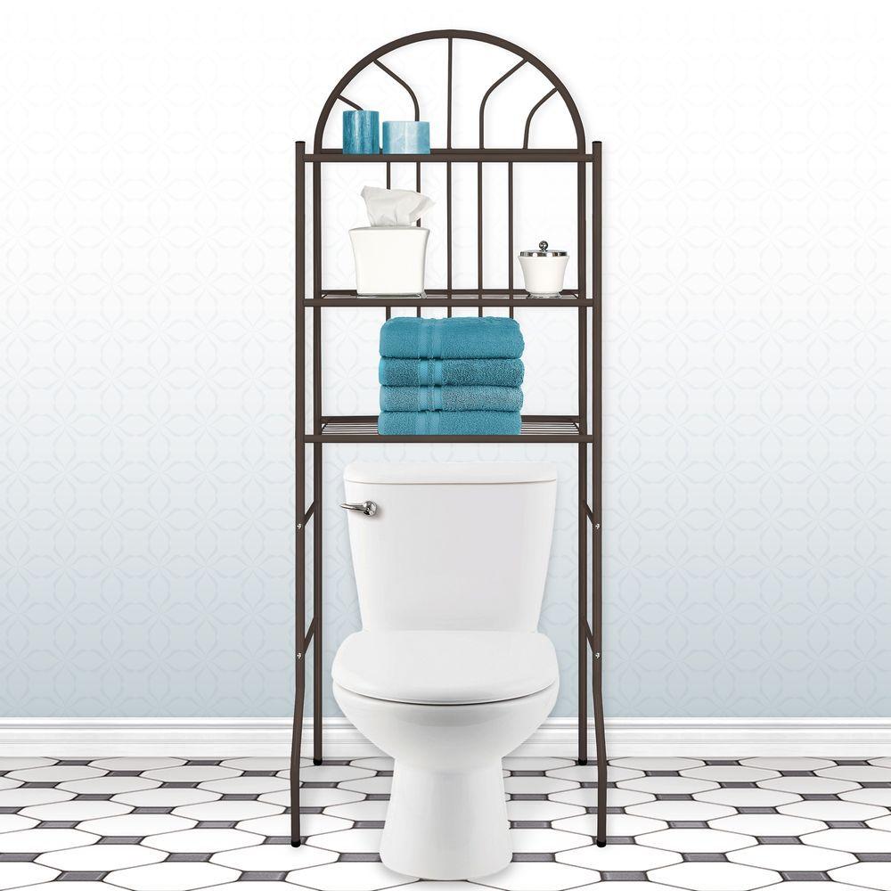 Three Tier Over The Toilet Bathroom Accessory Bronze Storage Shelf ...