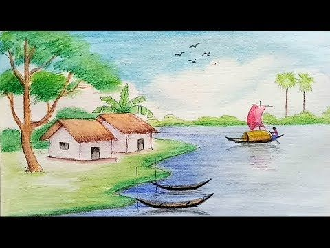 How To Draw Landscape With Water Color Pencils Step By Step