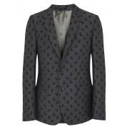 Grey skull jacquard wool jacket