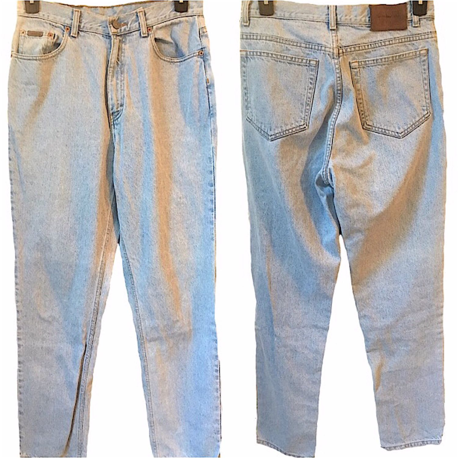 75559a1ad424bb Calvin Klein vintage jeans mens womens classic fit light wash back leather  tag high waisted or hips CK denim cotton vintage size 14 rad sale by ...