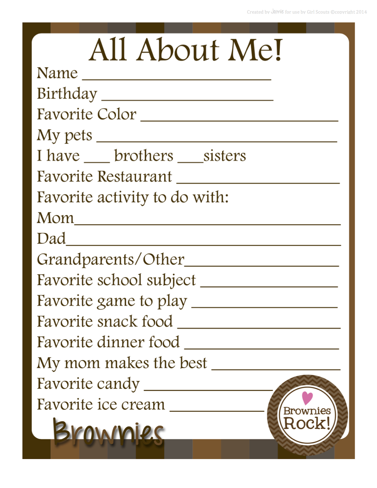 Girl scout scrapbook ideas - Girl Scouts About Me Free Printable