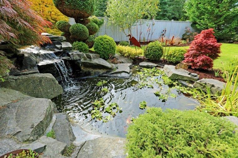 estanques de jardin opciones aire libre plantas cascadas ideas