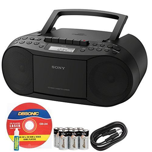 SONY CD AM//FM Radio MP3 Cassette Recorder Stereo BOOMBOX with Aux Audio Input