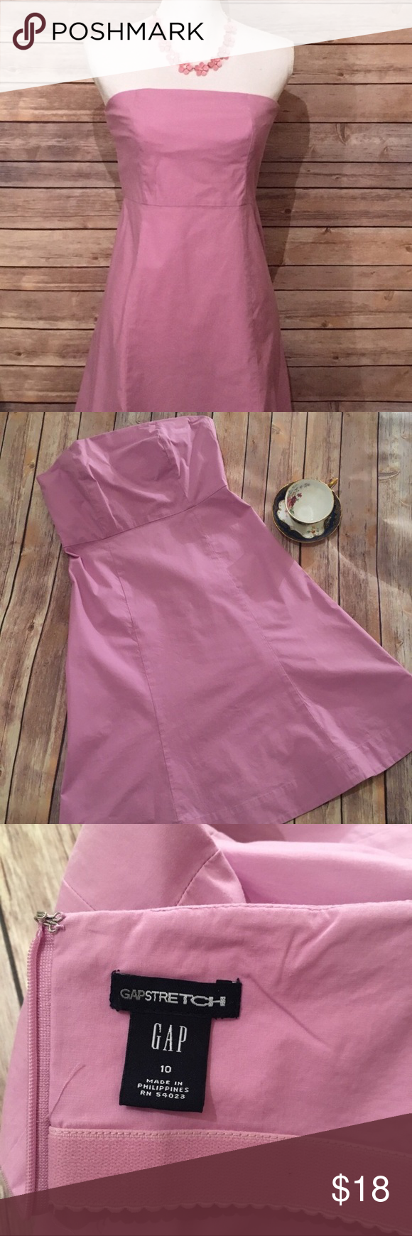 Pink dress with denim jacket  Lavender Strapless Gap Dress  Lavender color Early fall and Lavender