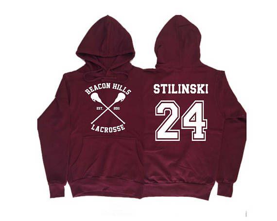 1f2003849c19e7 Beacon Hills Lacrosse Hoodie Teen wolf Maroon Hoodie Stilinski 24 ...