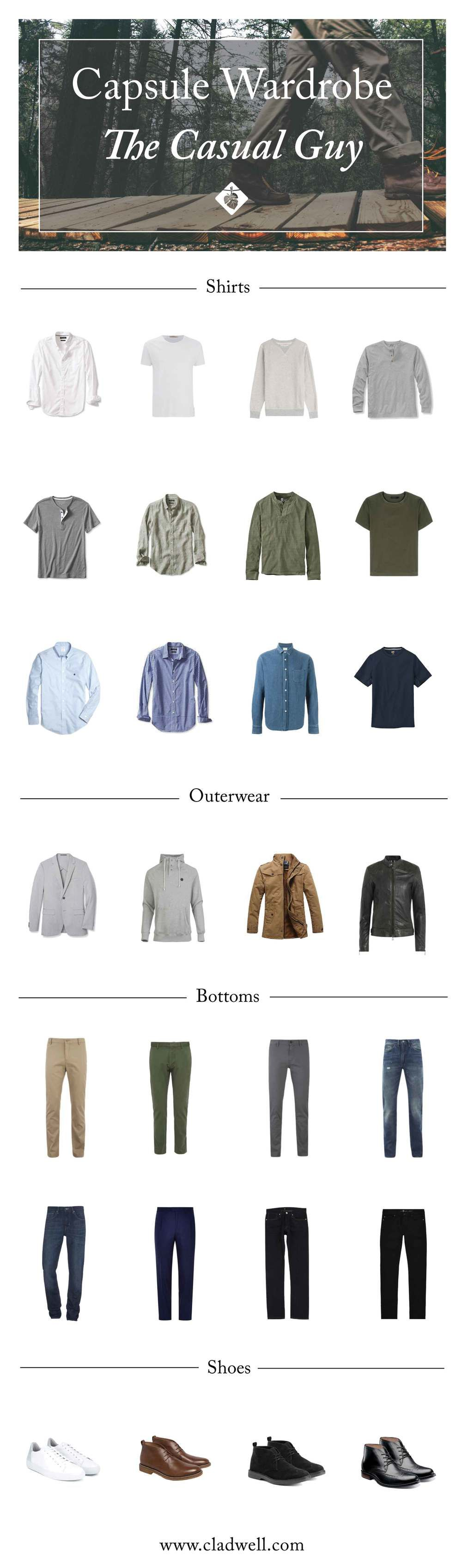 Guardaroba Uomo Casual A Capsule For The Casual Guy Cladwell Guide Guardaroba Nel