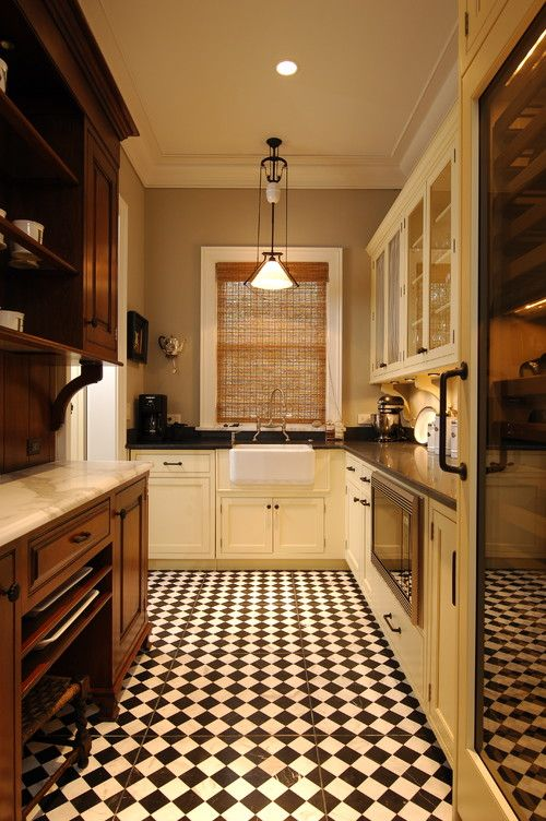 Retro kitchen flooring ideas chess tile design for for Great kitchen tile ideas