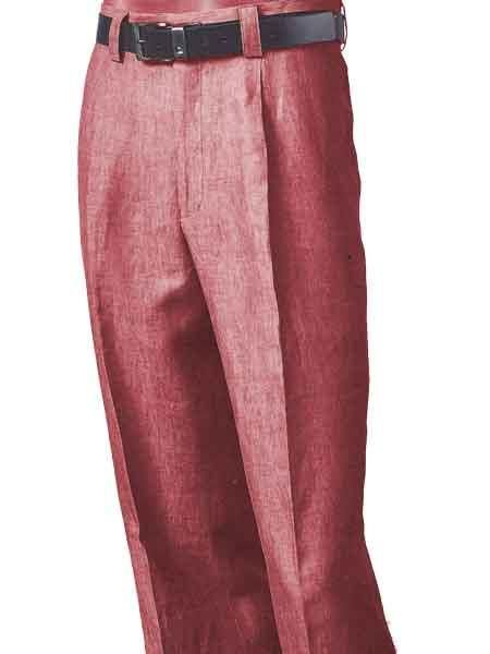 80631f1debf ... mens white dress pants and trousers for mens. Merc Inserch clothing  line Linen red pastel color Pleated creased Pant