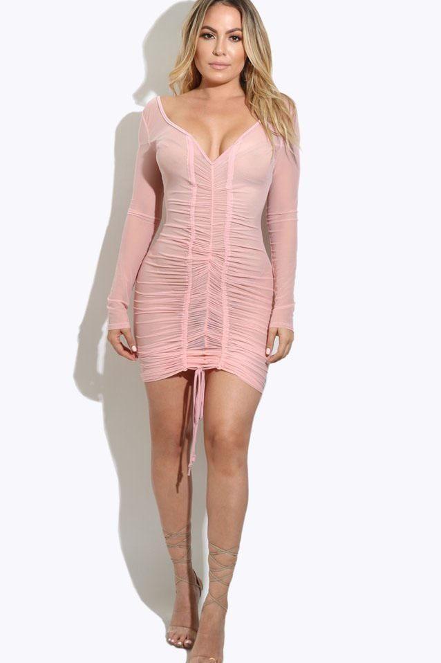 Transparent Off Shoulder Lace Up Bodycon Short Dress