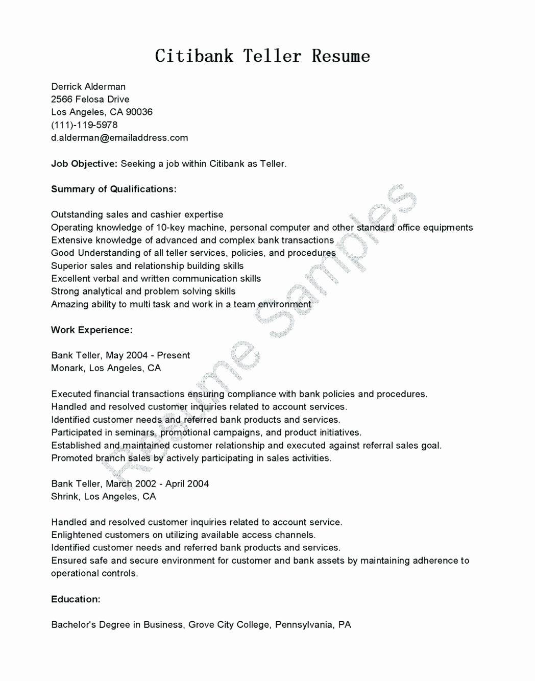 Bank Teller Job Description Resume Elegant 10 Bank Teller