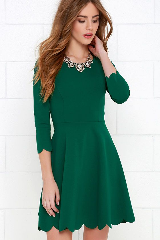 575347e34b Cumulonimbus Clouds Dark Green Skater Dress at Lulus.com!
