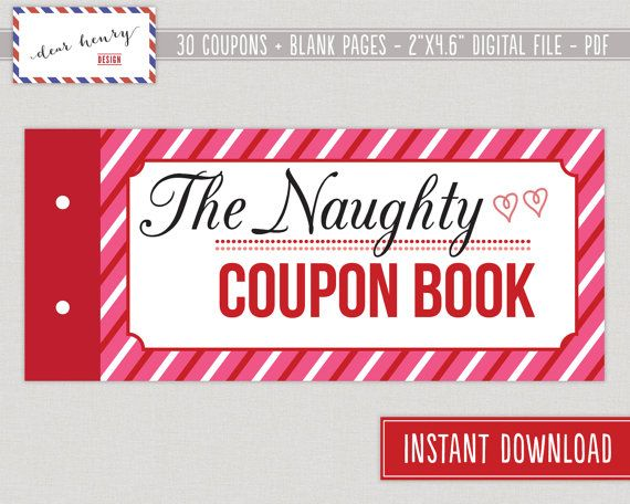 Naughty Coupon Book Printable ValentineS Day By Dearhenrydesign