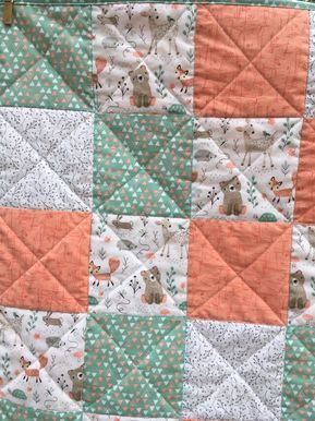 Photo of Nursery Baby girl quilt woodland animals machine quilted baby blanket