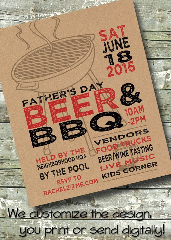 Neighborhood BLOCK PARTY ~ BBQ ~ Picnic ~ Summer ~ 5x7 Invite ~ 85 - picnic flyer template