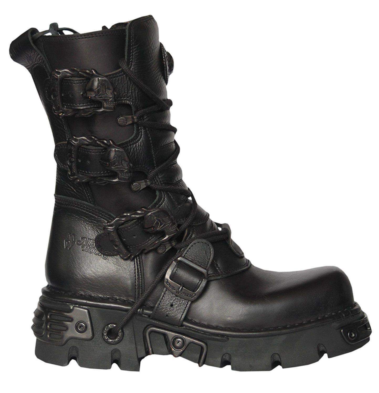 Demonia ROCKY-10 10 eyelet Combat Biker Goth Punk S/T Blk Leather Calf BT zgjdJIf