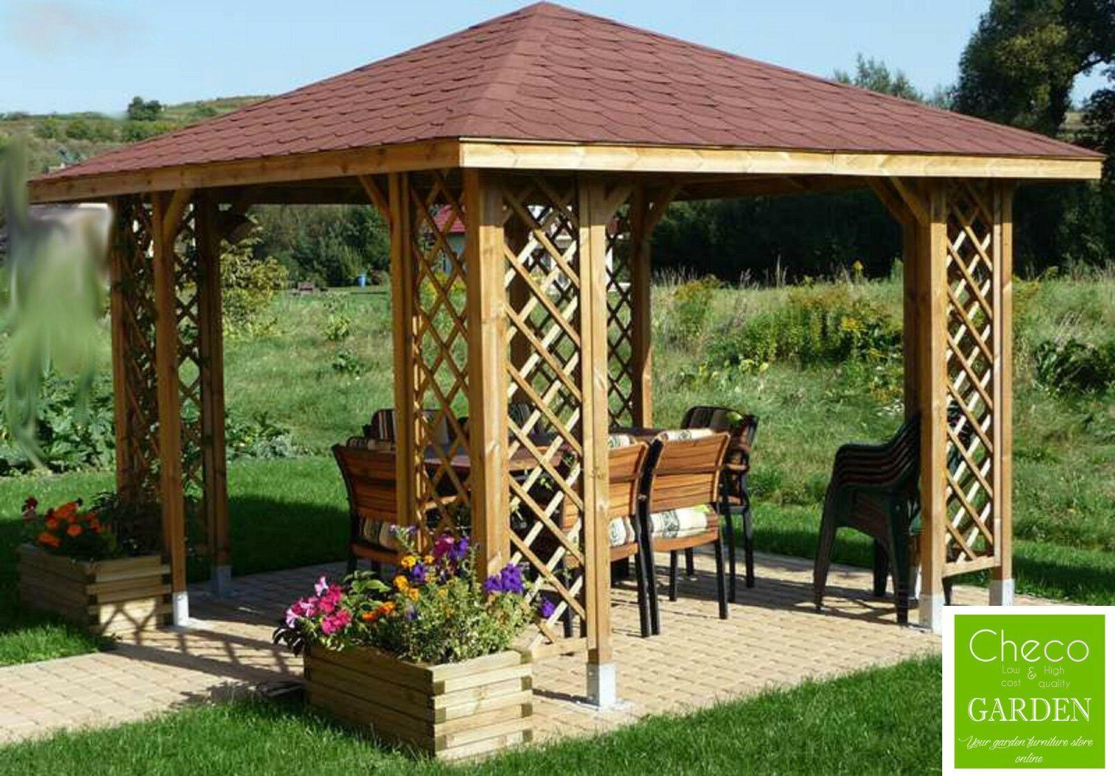 Hot Tub Gazebo Wooden 3m X 3m External 12ft X 12ft Garden