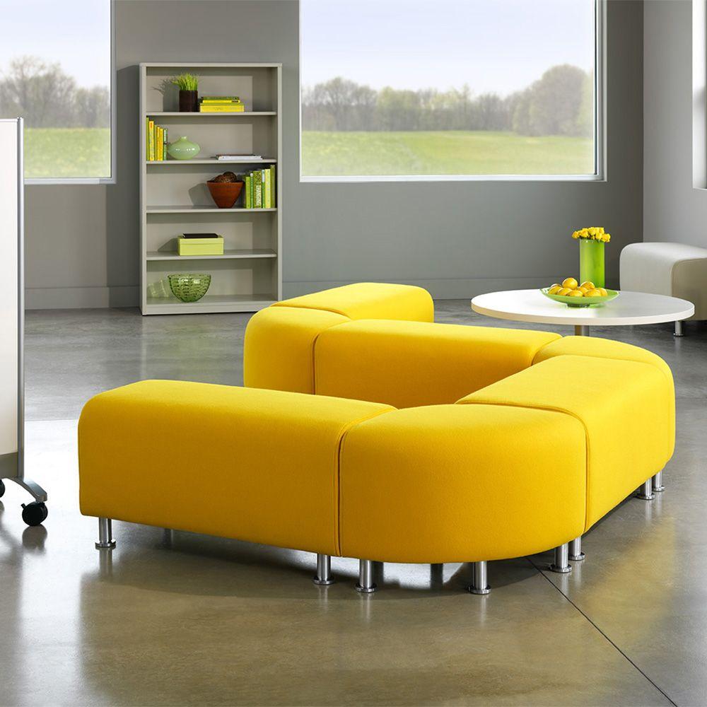 modern office lounge furniture. Yellow Alight Corner Bench | Modern Office Furniture Poppin: Placement? Lounge R