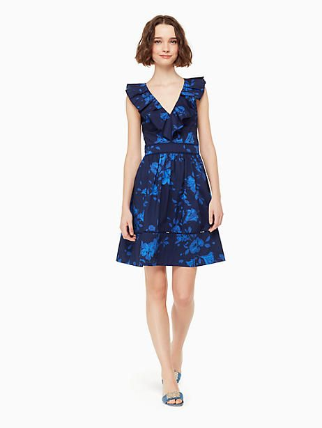 Kate Spade Hibiscus Ruffle Neck Dress French Navy Size 00