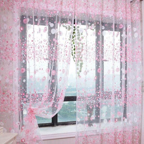 Floral Net Curtains Voile Tulle Window Panel Drape Valances Door Divider Decors