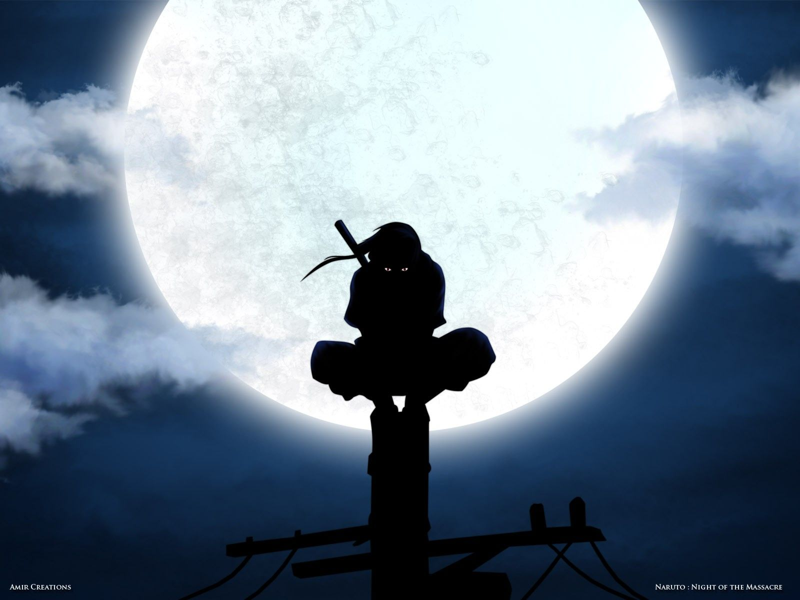 Uchiha Itachi, Moon, silhouette, ANBU, power lines,