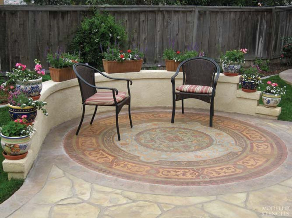Decor Idea: Decorate Your Outdoor Patio Or Porch By Painting The Concrete  Floor With Large