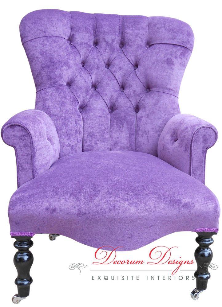 Gorgeous Bespoke Light Purple Velvet Button Back Armchair **HAND MADE IN  UK** | EBay