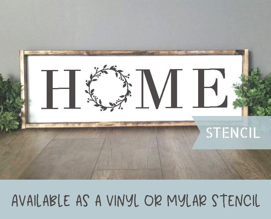 Farmhouse Home Stencil Home With Wreath Stencil Stencils For