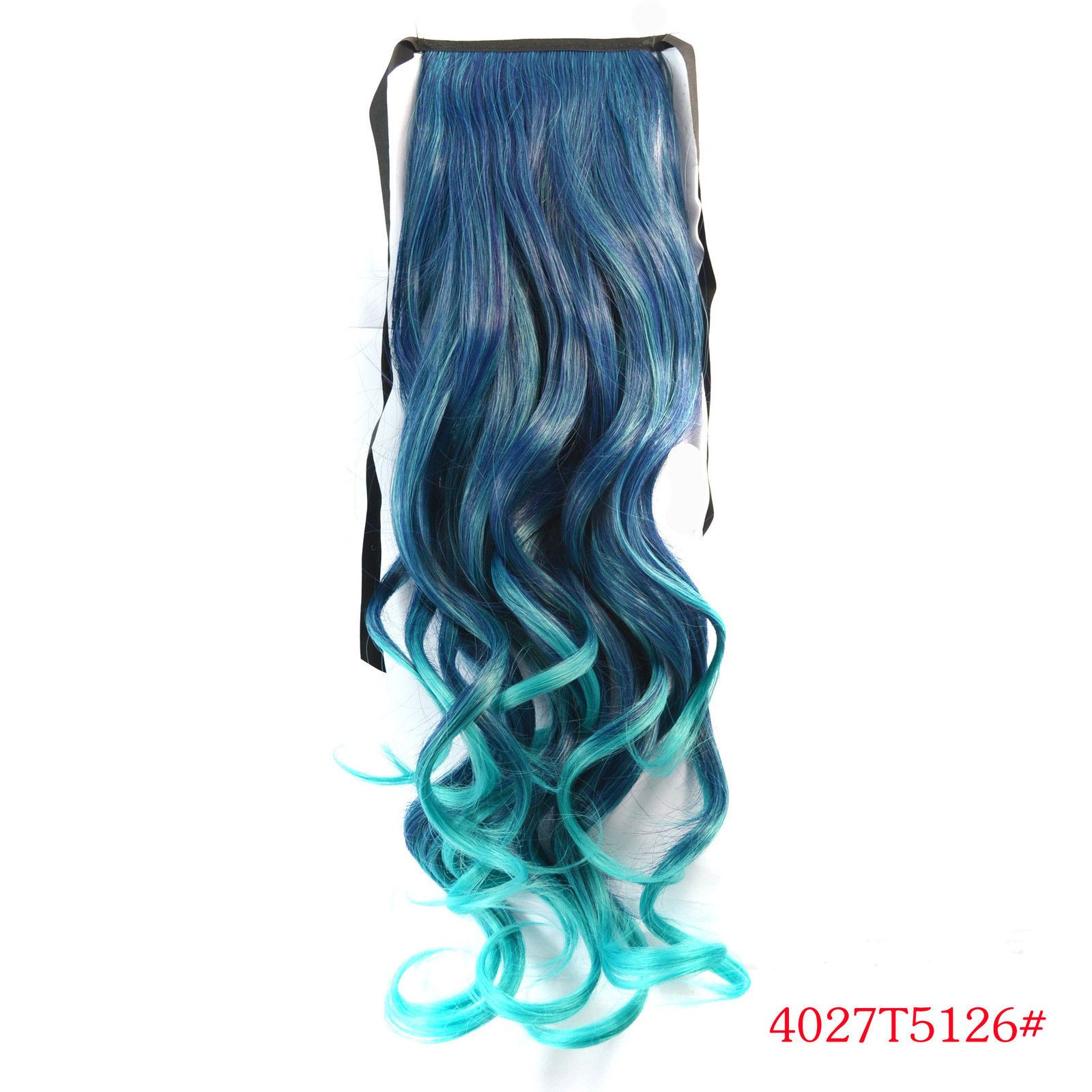 Curly Synthetic Hair Ombre Dip Dye Clip In Ponytail Hair Extensions