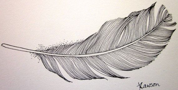 Line Drawing Feather : Floating black feather original ink drawing watercolor paper