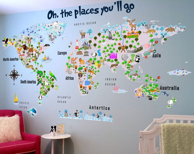 Animal Map - Cultural World Map Wall Decal - Reusable Vinyl Fabric - best of world map fabric bunting