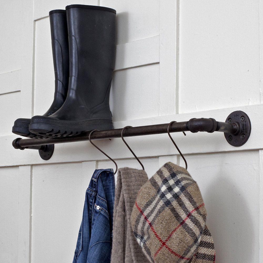 24 Inch Plumbing Pipe Storage Bar Towel Pot Rack Coat Reclaimed Steel Ebonized Rust Patina 140 00 Via Etsy