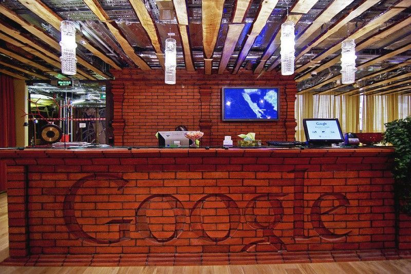 Brick Wall Reception Google Russia Office Style Fusion Home