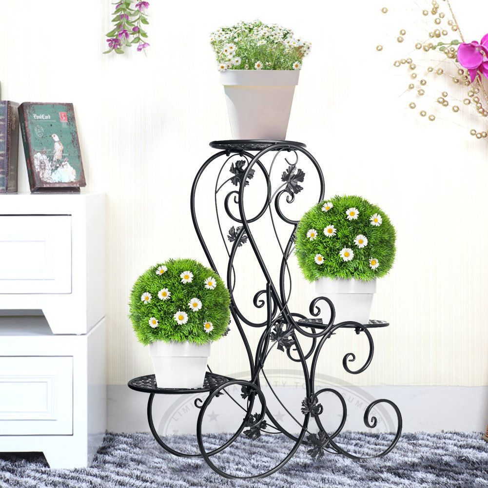 Details About Metal Outdoor Indoor Pot Plant Stand Garden Decor Flower Rack Wrought Iron Us Metal Plant Stand Wrought Iron Plant Stands Plant Stand
