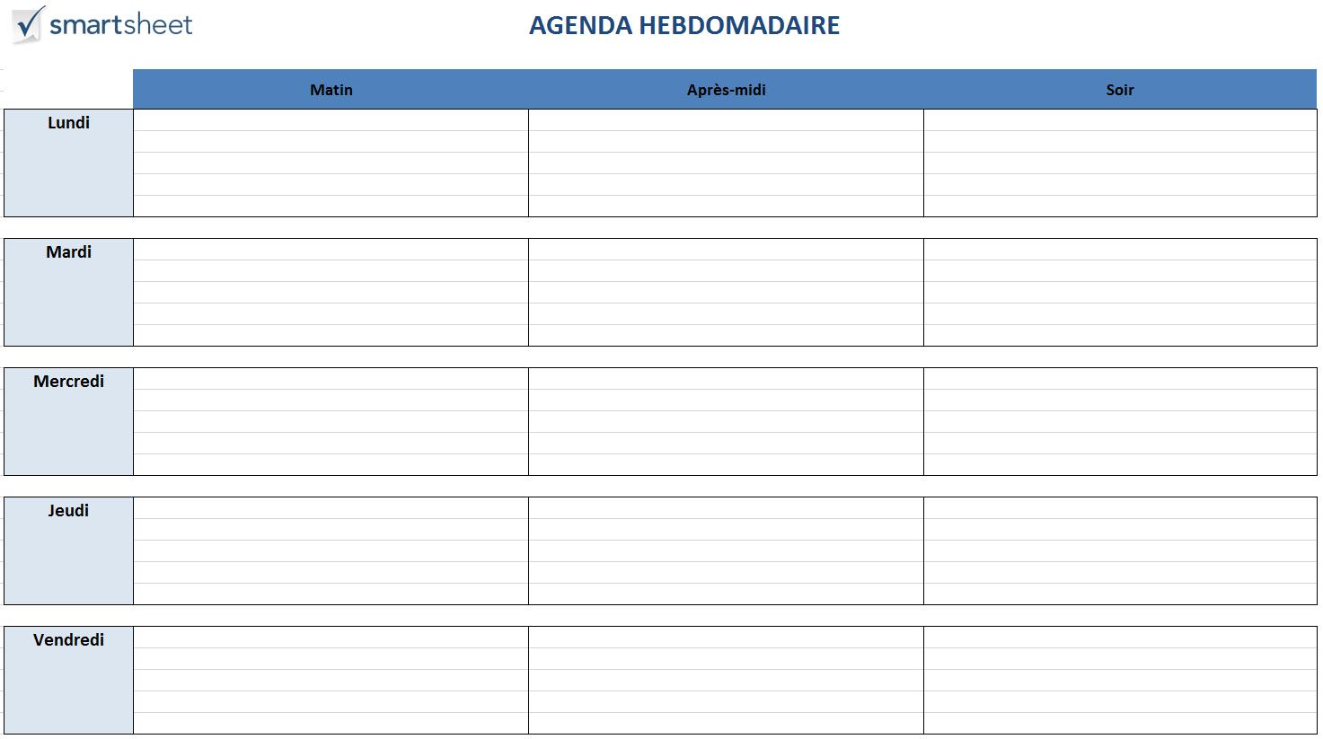 Modèles de planification gratuits pour Excel | Planning semaine, Planning de travail, Exemple de ...