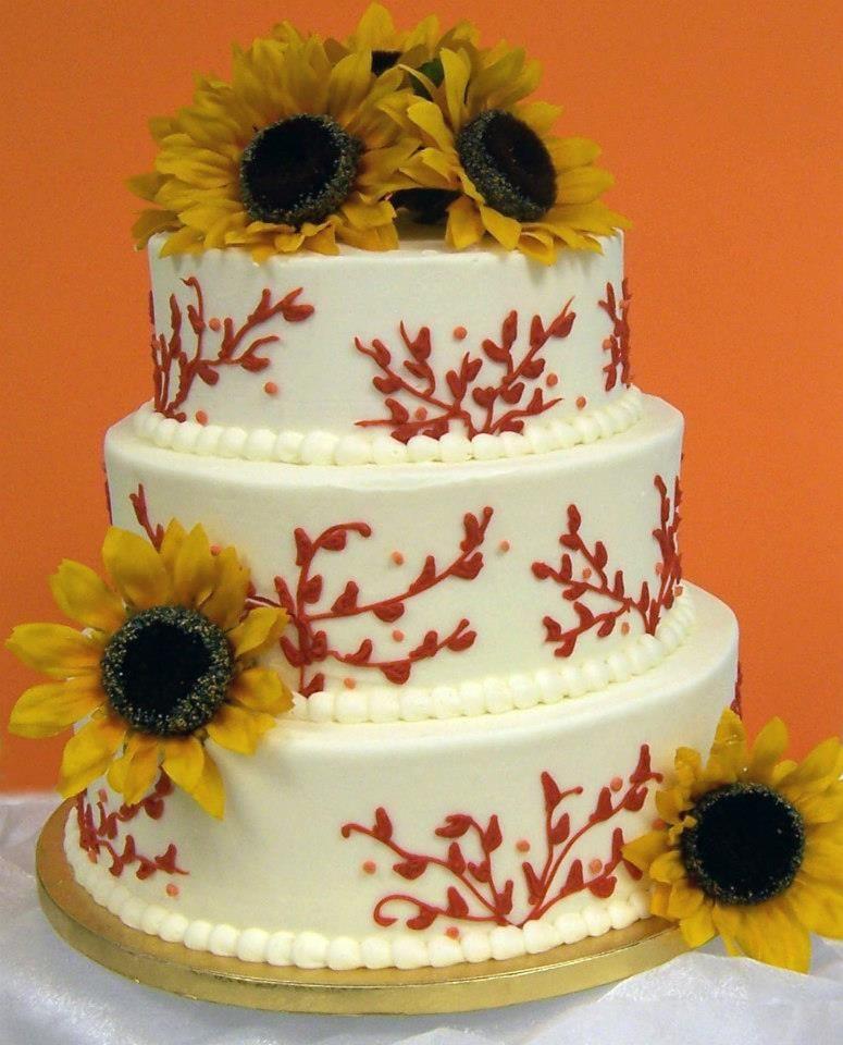 Sunflower Chic Wedding Cake By Martin S Supermarkets Wedding Cakes Cake Sunflower Cakes