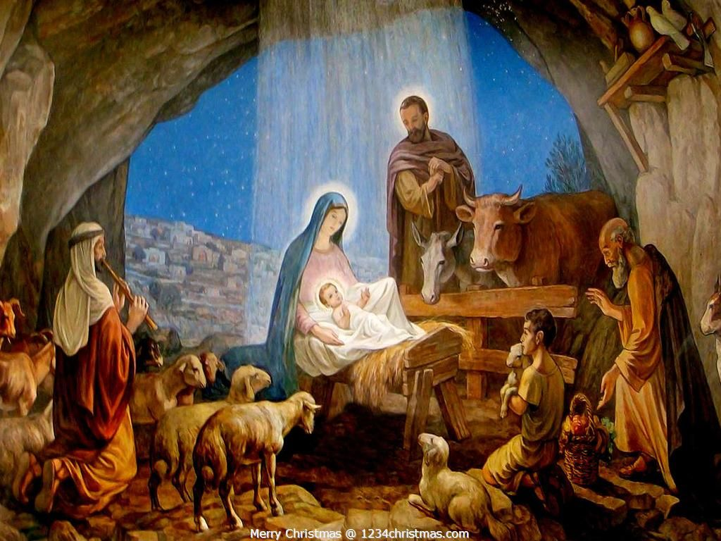 christmas nativity scene wallpaper