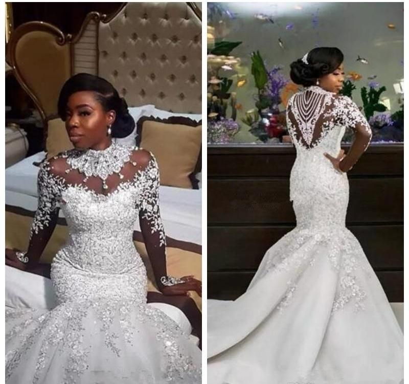 Sheer Lace Long Sleeve Satin Mermaid Wedding Dresses: Bling Bling Satin Mermaid Wedding Dress With Crystals