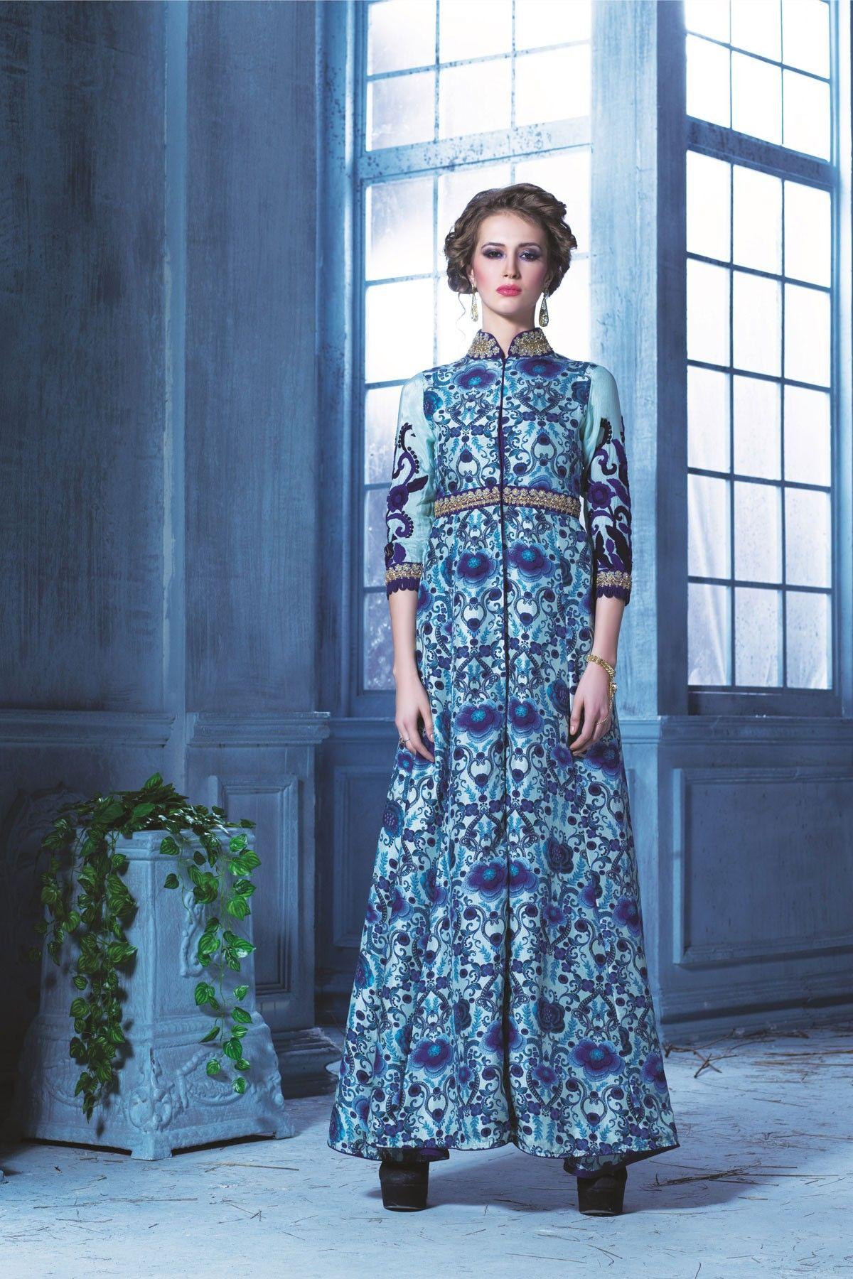 Blue colour soft Cotton floor length Gown with high neck design ...