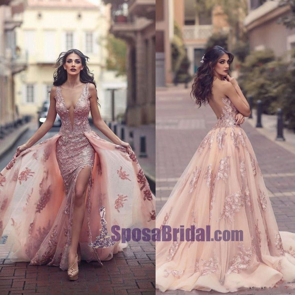 High quality lace deep vneck seethrough back prom dresses fashion