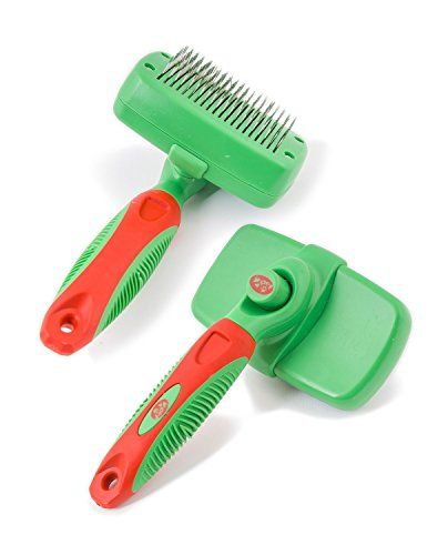 2PET Dog Brush KNOTS AWAY by Slicker Brush Self Cleaning
