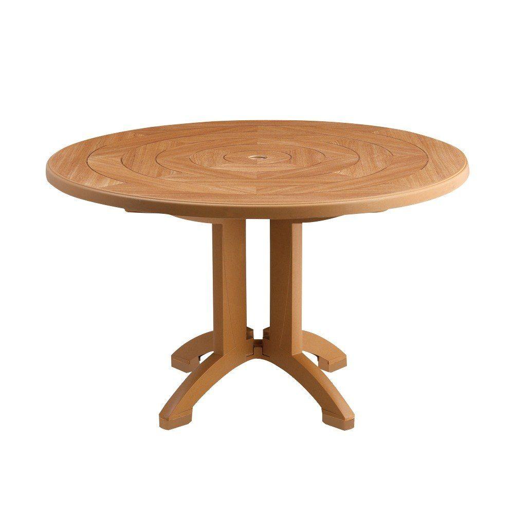 Grosfillex Us921208 Atlantis 48 Round Resin Table With Umbrella Hole Teakwood Plastic Outdoor Furniture Outdoor Folding Table Resin Table [ jpg ]