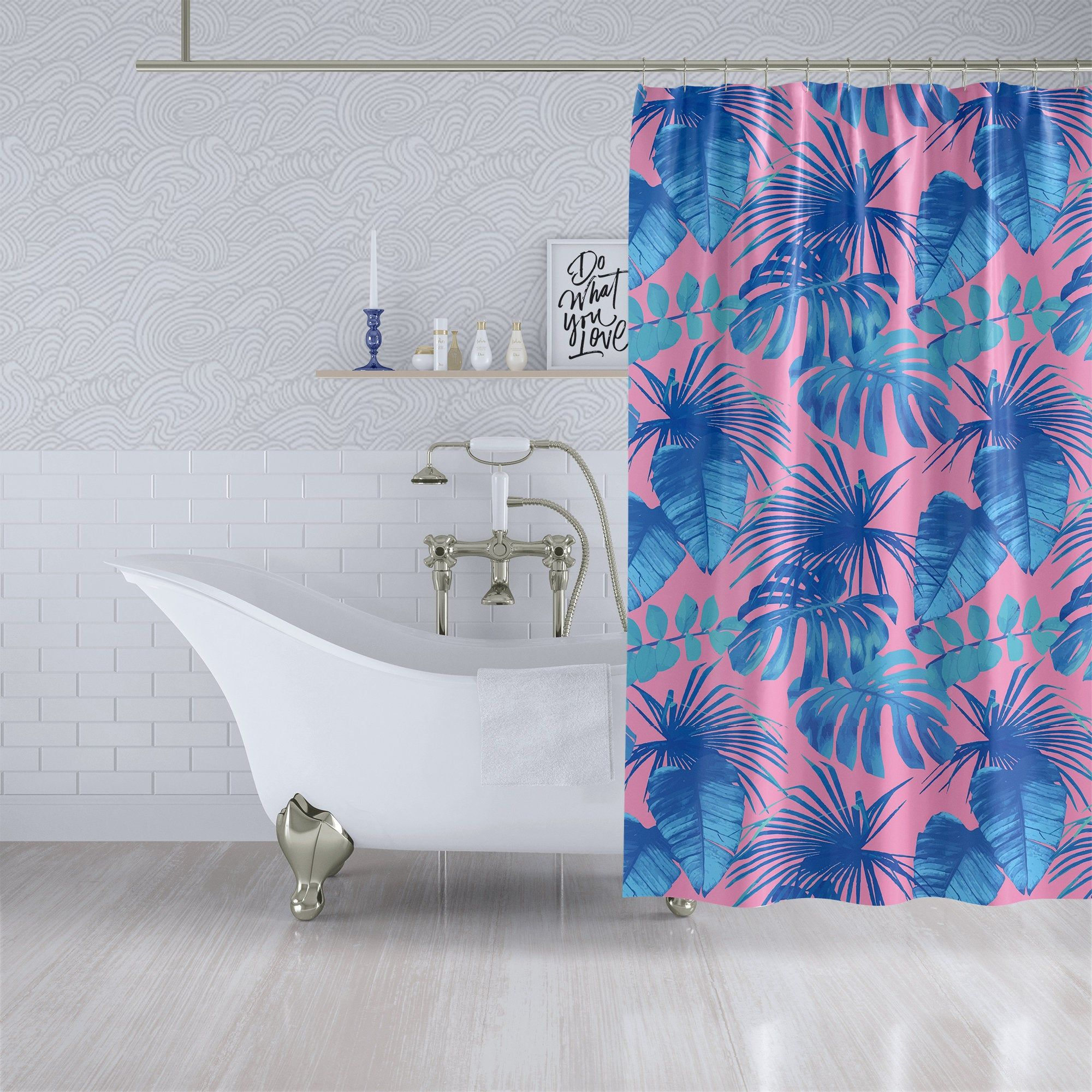 Pink Blue Tropical Leaf Fabric Shower Curtain Extra Long Bath Curtain 90x70 83x70 70x70 Custom Lengths In 2020 Pink Shower Curtains Fabric Shower Curtains Long Shower Curtains