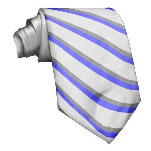 Regency Blue and Gray Striped Neck Tie #groomsmen