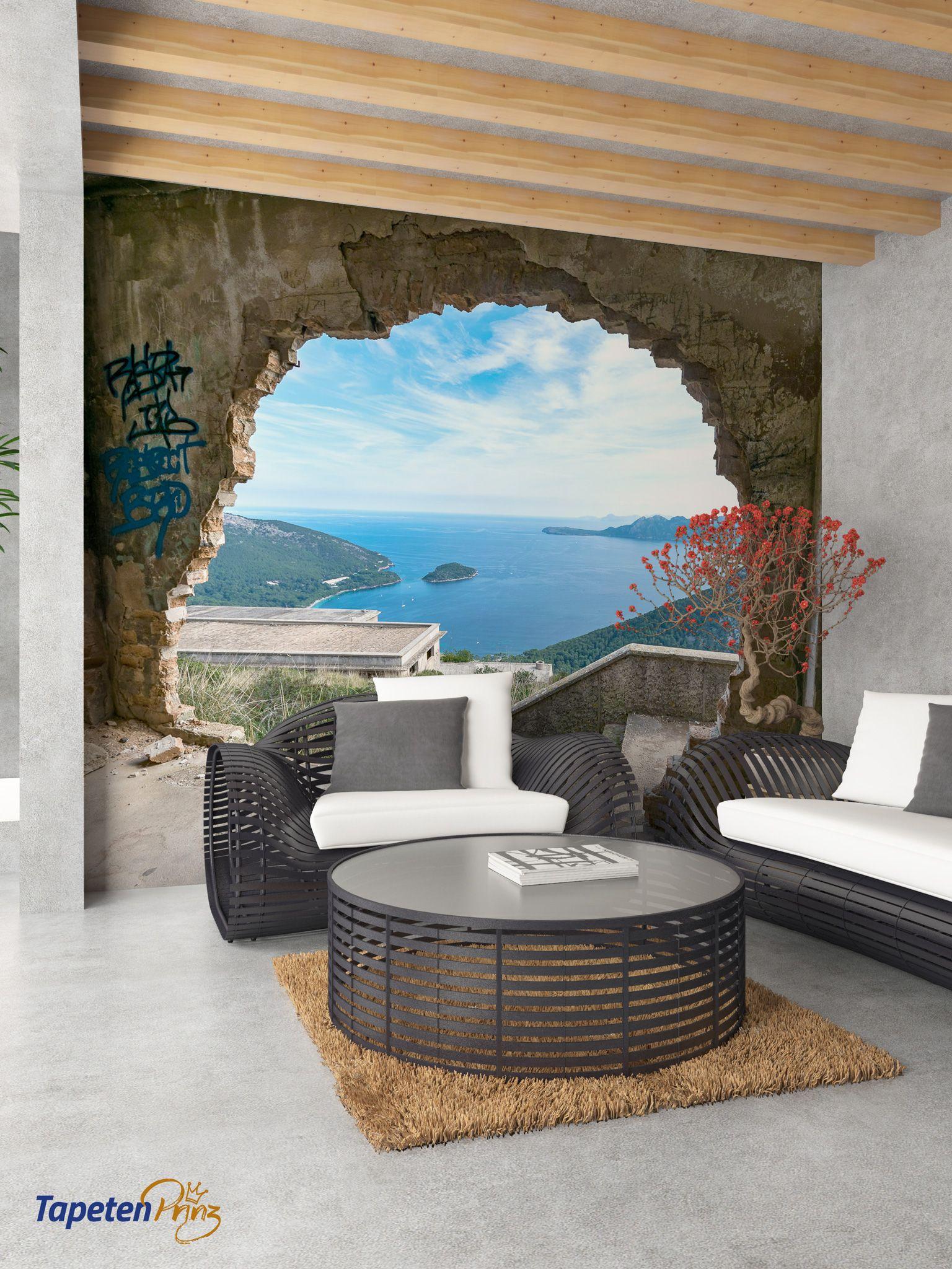 fototapete mallorca mauer durchbruch ein motiv zwei perspektiven an der badewanne wurde das. Black Bedroom Furniture Sets. Home Design Ideas