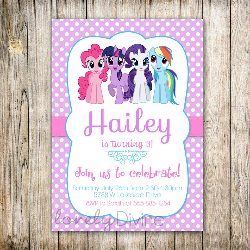 Get FREE Template My Little Pony Personalized Birthday Invitations