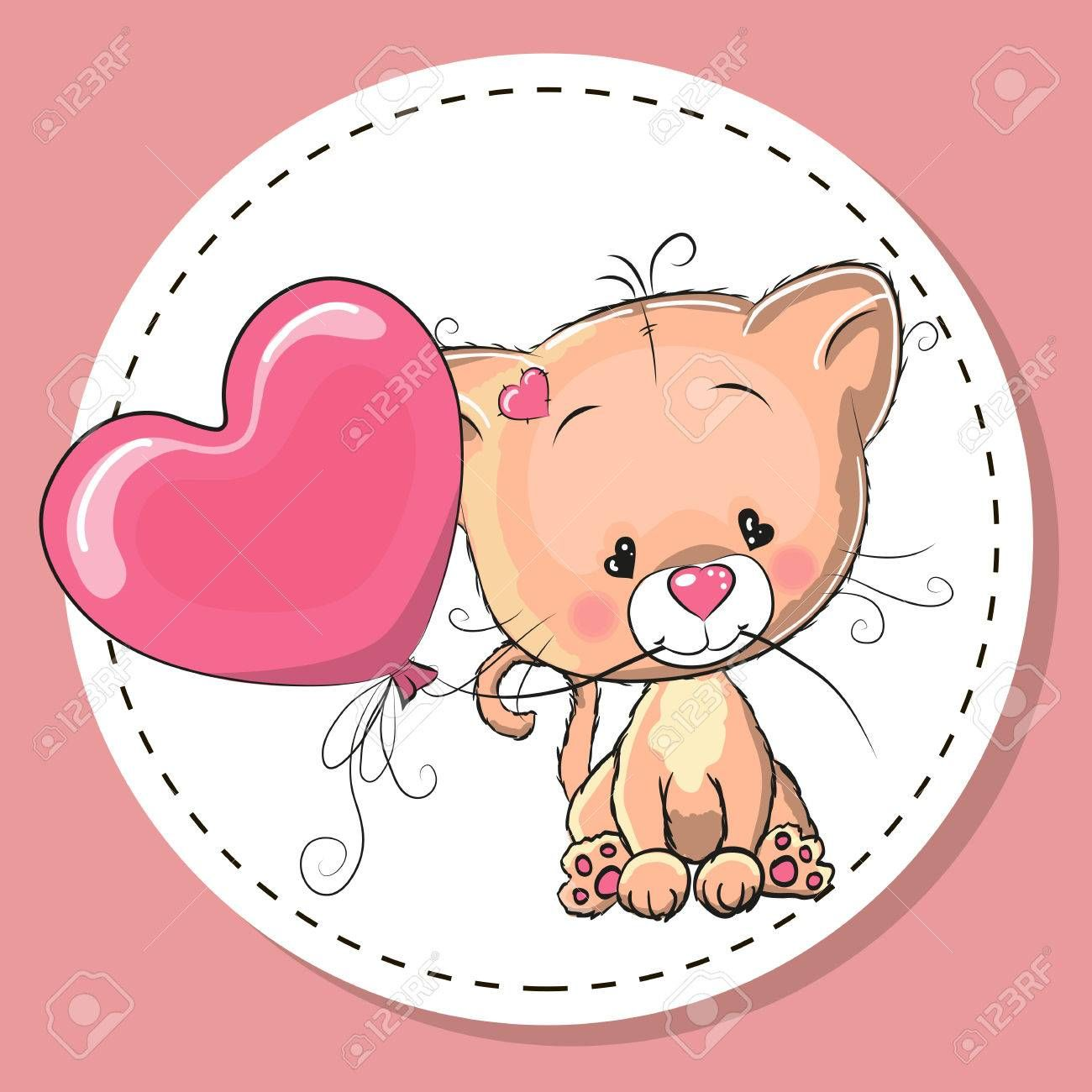 Greeting Card Cute Kitten With Pink Balloon Kittens Cutest Cute Drawings Pink Balloons