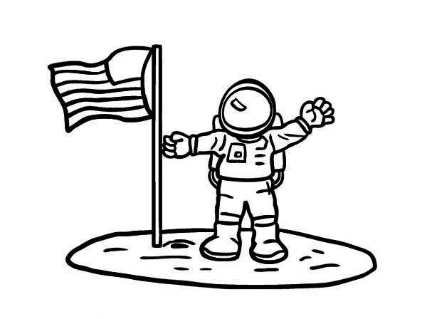 Astronaut An Astronaut Put American Flag on the Moon Soil
