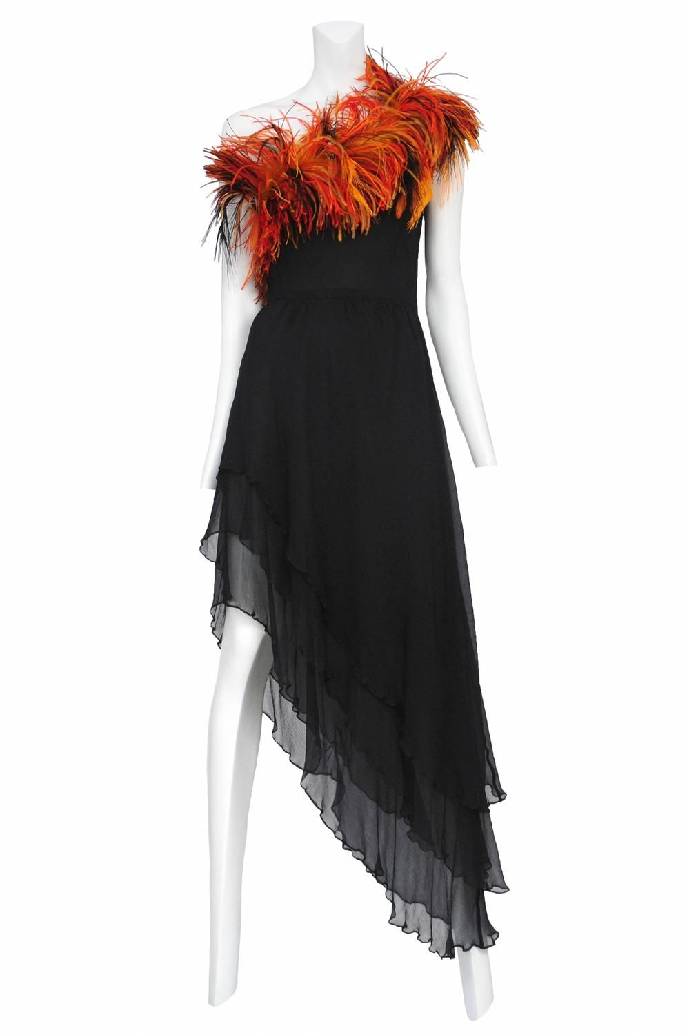 da5e3c23fc Yves Saint Laurent Ostrich Feather Disco Gown | From a collection of rare  vintage evening dresses