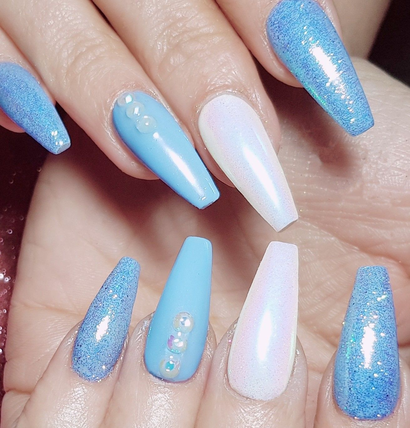 Sky Blue And White Acrylic Sculpted Nails With Glitter And Gems Blue Glitter Nails Blue Christmas Nails Sky Blue Nails