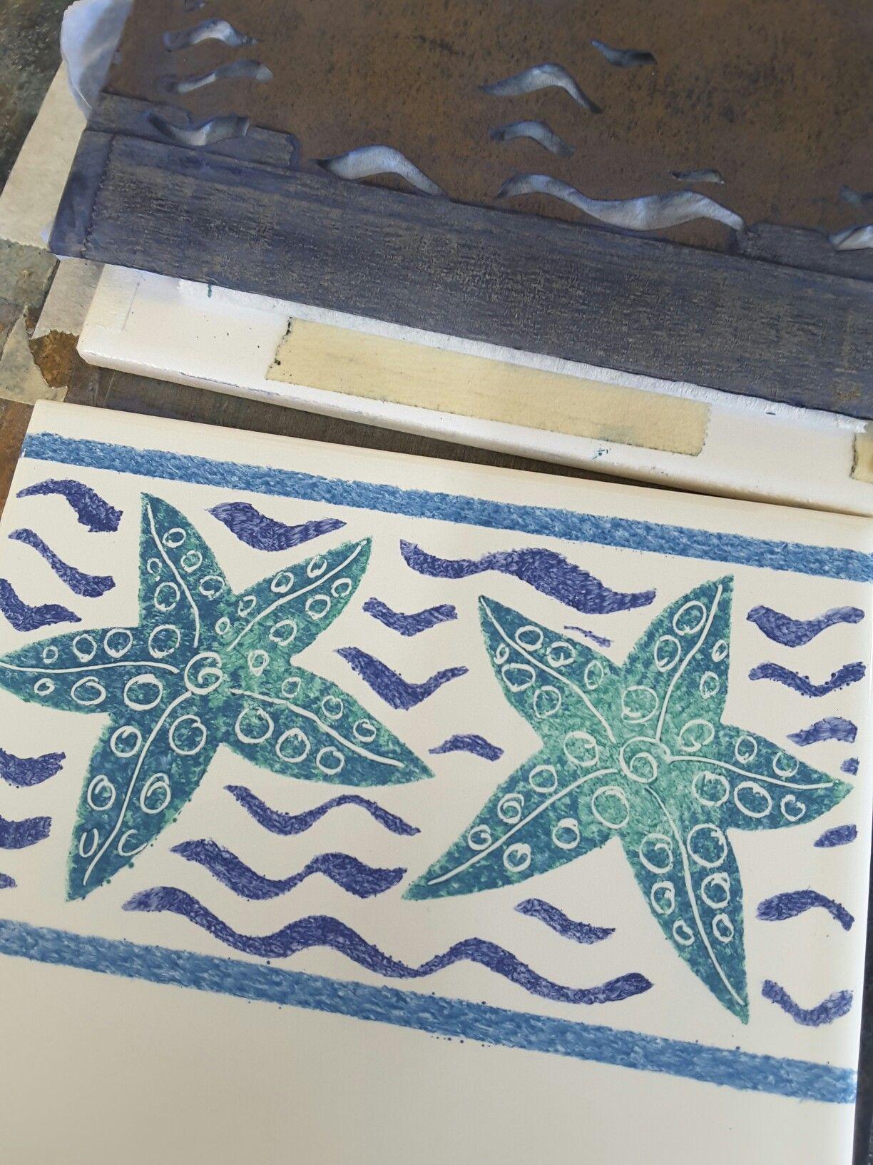 Hand painted Marine Life Starfish border tiles #wip #tilesofstow ...